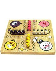 Tier Ludo / Material: Holz / Farbe: holzfarbend, weiss, gelb, rosa, lila und schwarz / Gewicht: 1,1 kg / Maße: 29,5 x 29,5 x 5 cm