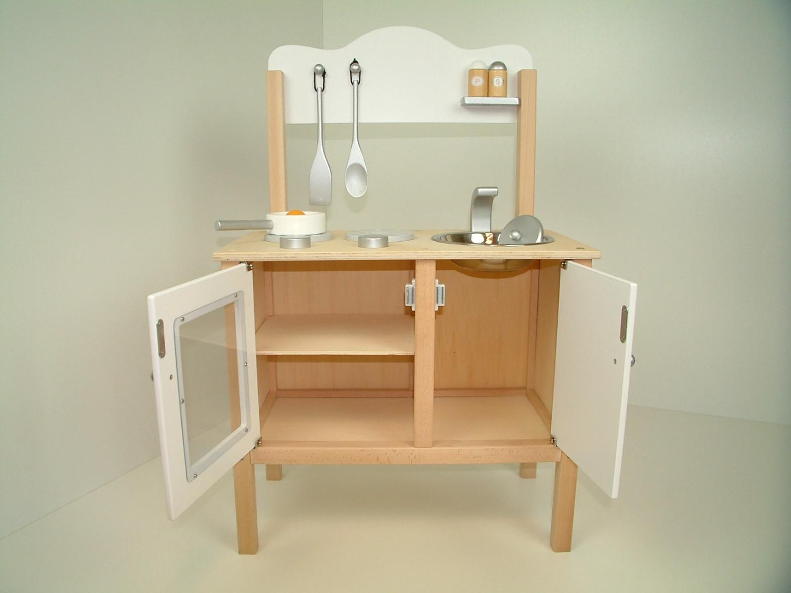 Combi-Küche / Kinderküche / Spielküche in weiss mit Zubehör aus Holz ...