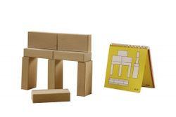 Bausteine - Nikitin Material (N4) / Lernspiel mit 8 Holzklötzen (8 x 4 x 2 cm Kantenlänge) + Vorlagenheft / für Kinder ab 3 Jahren geeignet