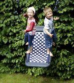 Kleine Mehrkindschaukel - Standard M / Farbe: silber/blau / Montierbar an jedes Schaukelgerät oder im Haus an Betondecken oder Holzbalken / Maße: 109 x 53 x 12 cm / Gewicht: 5,5 kg