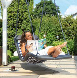 Relax-Schaukel - DreamlinerStandard L / Farbe: silber/schwarz / Montierbar an jedes Schaukelgestell bzw. im Haus an Betondecken oder Holzbalken / Maße: 170 x 66 x 60 cm / Gewicht: 8,5 kg