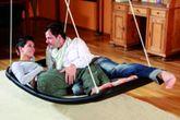 Relax-Schaukel - Lifestyle Plus XL (extra lang & extra breit) / Farbe: silber/schwarz / Im Haus an Betondecken oder Holzbalken montierbar / Maße: 166 x 76 x 25 cm / Gewicht: 12 kg