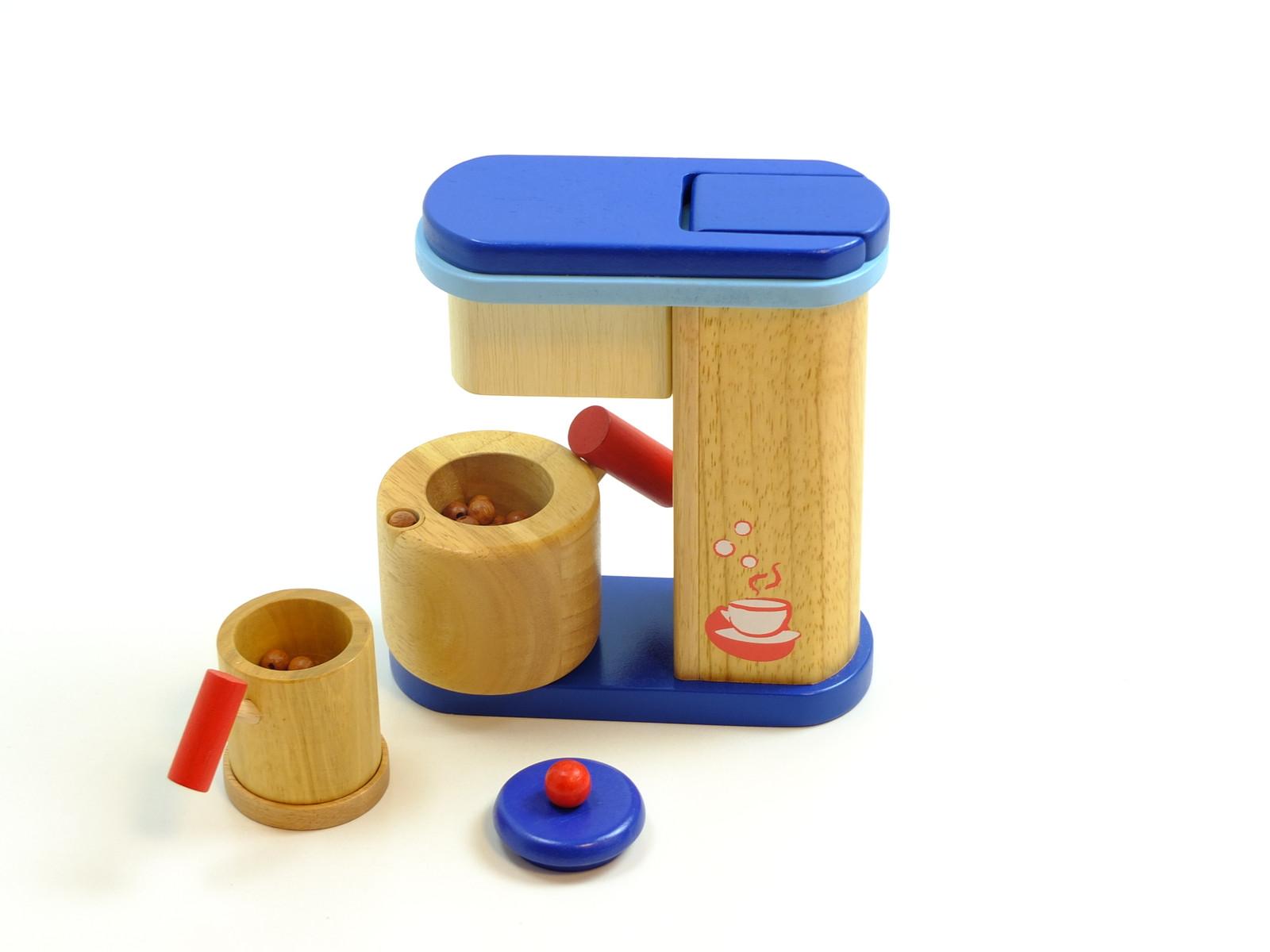 kaffeemaschine mit kanne tasse bohnen material holz farbe holzfarbend rot blau. Black Bedroom Furniture Sets. Home Design Ideas
