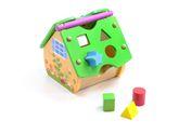Activity Haus aus Holz / inkl. geometrischen Formen, 1x Uhr + Zahnrädern / Farbe: grün, lila gelb, weiss blau, natur + lachs / Maße: ca. 20 x 21x 20 cm / für Kinder ab 2 Jahren