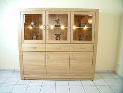 Schermbeck Highboard / kleiner Schrank / Wohnzimmerschrank Eiche modern, hell, massiv, geölt oder lackiert -  Modell: Schermbeck 3-türig, Ausführung mit sichtbaren Griffen, Eichenschrank modern