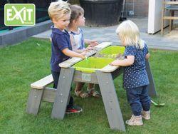 EXIT Aksent Sand-, Wasser- und Picknicktisch (1 Bank) / inkl. zwei Kunststoffbecken / Material: Nordisches Fichtenholz / Maße: 89 x 95 x 50 cm / Gewicht: 13,5 kg