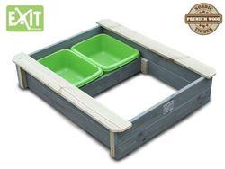 EXIT Aksent Sandkasten mit Deckel / inkl. zwei Kunststoffbecken / Material: Nordisches Fichtenholz / Maße: 94 x 77 x 20 cm / Gewicht: 16 kg