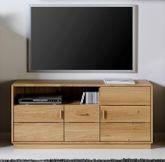 Carla Wohnwand Kombination / Vitrine, TV-Lowboard, Winkelboden und Highboard, in Eiche vollmassiv - OHNE Beleuchtung - Vorzugspreis