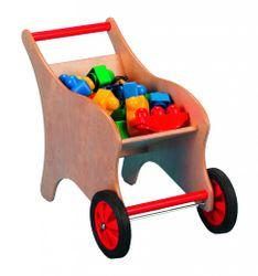 Kinder-Schubkarre aus Holz (ohne Bausteine!) / Material: Buche massiv + Birke Muliplex / Maße: 55 x 32 x 39 cm / 3+