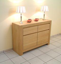 Schermbeck Anrichte / Sideboard Eiche massiv 2-türig Breite 115 cm Höhe 80 cm Schubladen oben / modern, grifflos - auch in Asteiche Buche oder Kirschbaum möglich