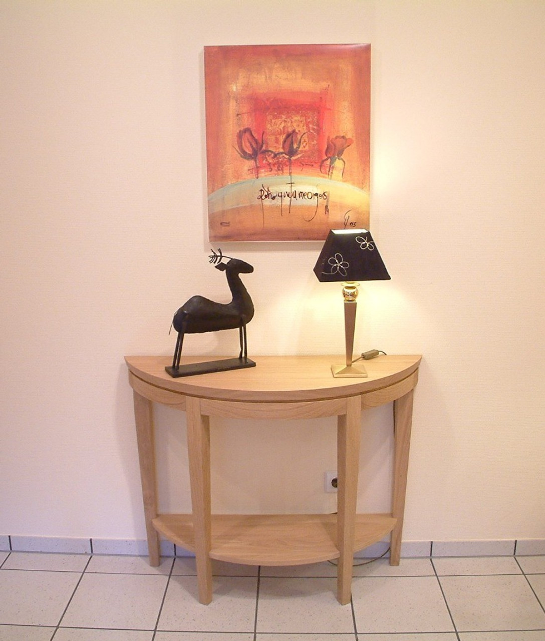 halbrunder Tisch / Wandtisch Eiche massiv, hell geölt oder lackiert, Adraton mit Ablageboden, Eiche, Buche oder Kirschbaum