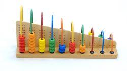 Bogen Rechenspiel / Rechenrahmen aus Holz / Maße: 29 x 7,5 x 14,5 cm / 20 bunte Metallbögen mit Holzperlen 1 - 10 Stck / für Kinder ab 3 Jahren geeignet