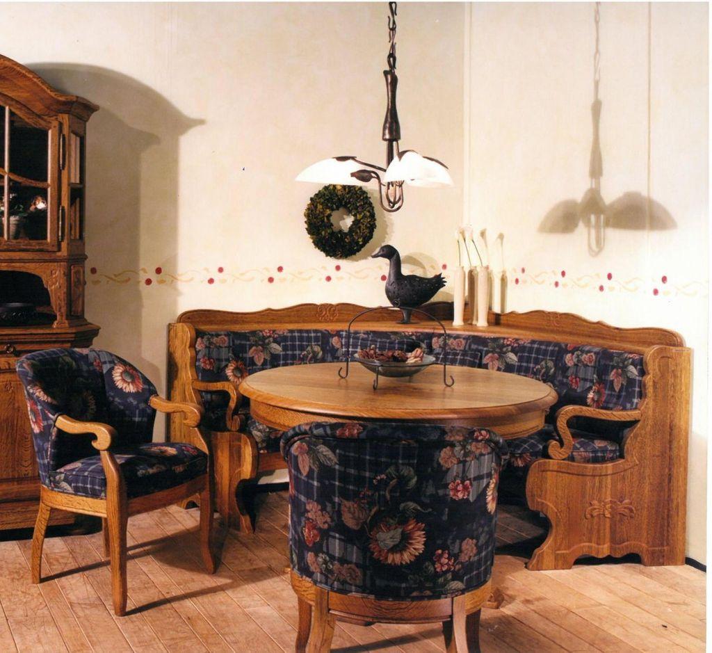 Möbel Strassburg rundbank eiche rustikal gelaugt p43 oder nach farbmuster in eiche