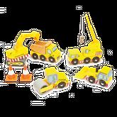 Baufahrzeuge Set / 7-teilig: 1 Bagger, 1 Walze, 1 Radlader, 1 Kran-LKW, 1 Kipplaster, 2 Pylonen (Kegel) / Material: Holz / für Kinder ab 3 Jahren