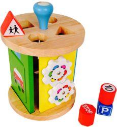 Activity Roller Garage / Motorikspielzeug/Sortierbox / Material: Holz / Durchmesser 16 cm - Höhe: 22 cm / für Kinder ab 12 Monaten