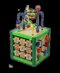 5 in 1 Activity Cube / Motorikwürfel mit vielen Spielmöglichkeiten / Material: Holz / Maße: 20 x 20 x 37 cm / für Kinder ab 18 Monaten