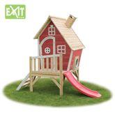 EXIT Fantasia 300 Rot 50.11.13.00 / Fantasia Spielhäuschen auf Stelzen mit Veranda + Rutsche / Material: Zedernholz / Maße: 240x163x226 cm / Gewicht: 66,5 kg / 3+