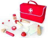 Tolle rote Arzttasche aus Stoff / mit Holzinstrumenten und Rezeptblock / Material: Holz + Stoff / Maße: 24,5 x 8,5 x 17 cm / für Kinder ab 3 Jahren