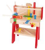 Worky  Große Werkbank + Werkzeug / Made in Germany / Material: Holz / Farbe: holzfarbend, blau, rot, gelb, orange + grün / Maße: 37 x 19,5 x 43 cm / für Kinder ab 1 Jahren geeignet