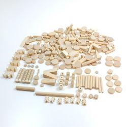 Bastelbox / 1 kg Holzteile in verschiedenen Größen + Formen / aus verschiedenen Holzsorten - holzfarbend / Made in Germany / für Kinder ab 3 Jahre