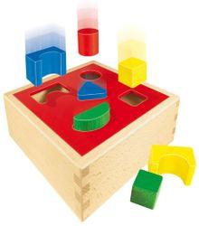 Puzzle Box / Sortierbox mit Deckel für geometrische Formen / Material: Holz / Maße: 16,5 x 16,5 x 6,5 cm / Made in Germany / für Kinder ab einem Jahr