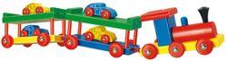 Großer Autotransportzug mit 2 Waggons und 4 Autos aus Holz / Hergestellt in Deutschland / Länge: 54 cm / Gewicht: 1,16 kg / für Kinder ab 1 Jahr geeignet