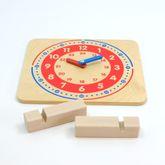 Lernuhr aus Holz mit Aufsteller / mit Stunden und Minutenaufdruck / Made in Germany / Holzaufsteller / Zeiger aus Holz / Größe: 24 x 27 x 0,7 cm / Gewicht: 700 g / für Kinder ab 3 Jahren geeignet