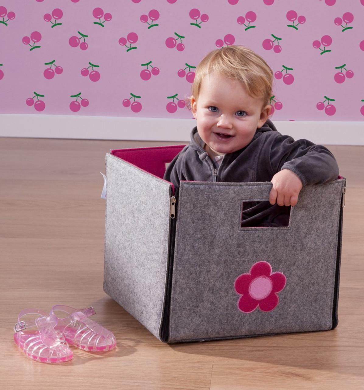 filz aufbewahrungsbox blume mit 2 griffl cher seitlichen rei verschl ssen au en grau. Black Bedroom Furniture Sets. Home Design Ideas
