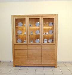 Schermbeck Schrank, Wohnzimmerschrank  Eiche massiv modern grifflos, Modell: Schrank Schermbeck 172 - Höhe 200 cm / Eichenmöbel und moderne Massivholzmöbel