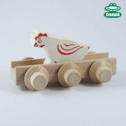 Drewa-Stapfer Germany Laufteil - Henne / Maße: 10 x 5,2 x 7,2 cm / Farbe: weiß, rot + holzfarbend / Made in Germany / für Kinder ab 3 Jahren