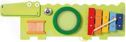 Wandspiel Krokodil / Spieltafel mit verschiedenen Lernspielen / Material: Holz / Maße: 93 x 30 x 6 cm / für Kinder ab 18 Monaten