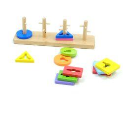 Kreativ Formensteckspiel aus Holz / inkl. quadratischen, rechteckigen, dreieckigen + runden Elementen / Gewicht: 630 g / Material: Holz / für Kinder ab 18 Monaten