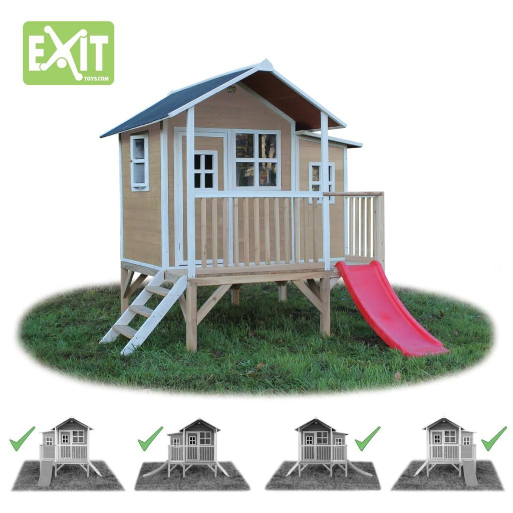 exit loft 350 natur spielh uschen auf stelzen mit veranda rutsche material zedernholz. Black Bedroom Furniture Sets. Home Design Ideas