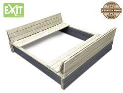 EXIT Aksent Sandkasten XL / mit Deckel = kann zu 2 Bänken umfunktioniert werden / Material: Nordisches Fichtenholz / Maße: 132 x 135 x 20 cm / Gewicht: 27,8 kg