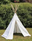 Tipi klein / Kleines Indianerzelt / Durchmesser: 165 cm, Höhe: 140 cm / Material: wasserabweisender Zeltstoff aus Baumwolle + steckbares Holzgestänge