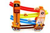 Piratenkugelbahn mit 4 Rollbahnen / inkl. 4 eckigen + runden Rollelementen / Material: Holz / Maße: 36 x 7 x 34 cm / für Kinder ab 18 Monaten