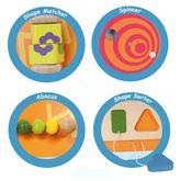 Wandspiel Löwe / Spieltafel mit verschiedenen Lernspielen / Material: Holz / Maße: 89 x 30,5 x 6,2 cm / für Kinder ab 18 Monaten