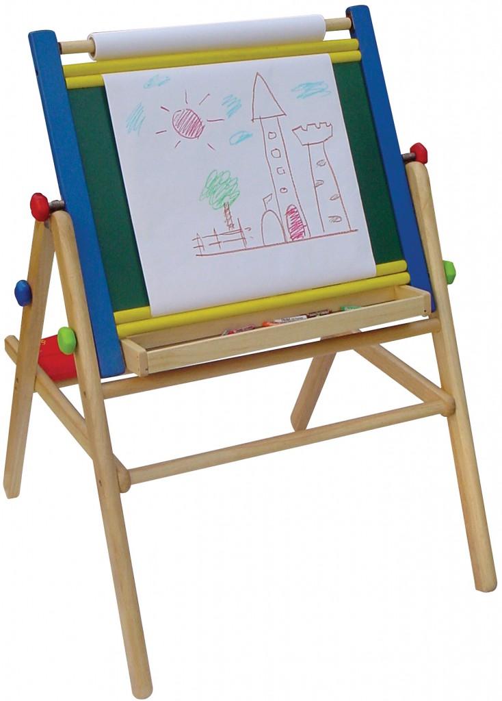 staffelei tafel mit kreidetafel whiteboard papierrolle material holz ma e 79 x 64 x. Black Bedroom Furniture Sets. Home Design Ideas