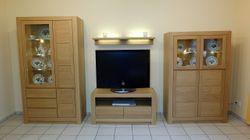 Schermbeck Wohnwand Kombination 2 Vitrinen TV-Lowboard Winkelboden in Eiche massiv - ohne Beleuchtung - zum Vorzugspreis