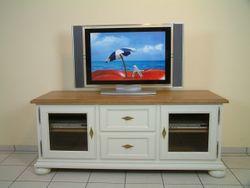 Norden TV-Anrichte / Fernseh-Anrichte / Lowboard in Eiche vollmassiv, Farbton: Eiche weiß / Modell:  TV-Anrichte Norden  - auch in Buche oder Kirschbaum