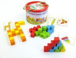 Kreative Farbwürfel / Bauklötze / Bausteine / Set bestehend aus: 50 Würfel + 10 Vorlagekarten (20 Muster) in einer runden Bausteintrommel / Gewicht: 1,3 kg / für Kinder ab 3 Jahren geeignet