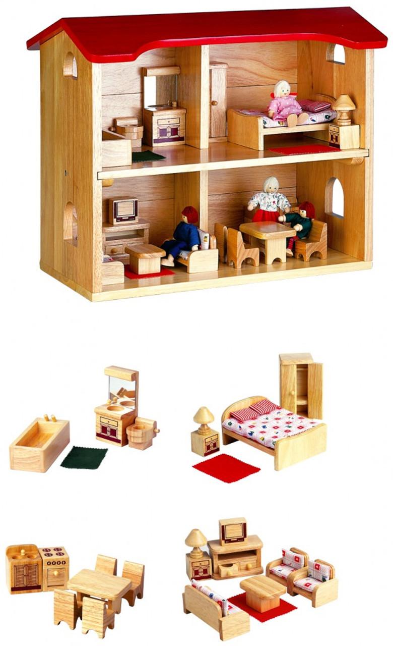 Puppenhaus mit kompletter Einrichtung für Küche, Badezimmer, Wohnzimmer und  Schlafzimmer inkl. 18 Biegepuppen / Maße: 18 x 188 x 182 cm / Gewicht: 18,18 kg