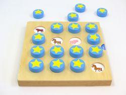 Tier Memory aus Holz / mit 8 verschiedenen Spielvorlagen + 16 runde Holzbausteine zum Verdecken / Gewicht: 1,38 kg / für Kinder ab 3 Jahre geeignet