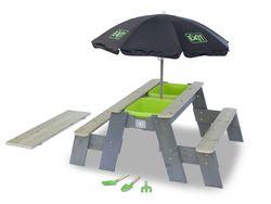EXIT Aksent Sand-, Wasser- und Picknicktisch (2 Bänke) Deluxe / Spieltisch inkl. zwei Kunststoffbecken + Sonnenschirm + 3 Gartenwerkzeuge