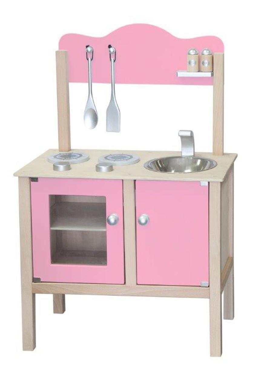 Combi-Küche / Spielküche / Kinderküche rosa mit Zubehör aus Holz / Gewicht:  ca. 6,25 kg / Maße: 54 x 83,5 x 30 cm - Arbeitshöhe: 48 cm / für Kinder ab  ...