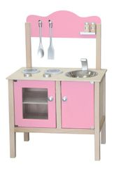 Combi-Küche / Spielküche / Kinderküche rosa mit Zubehör aus Holz / Gewicht: ca. 6,25 kg / Maße: 54 x 83,5 x 30 cm - Arbeitshöhe: 48 cm / für Kinder ab 3 Jahren geeignet