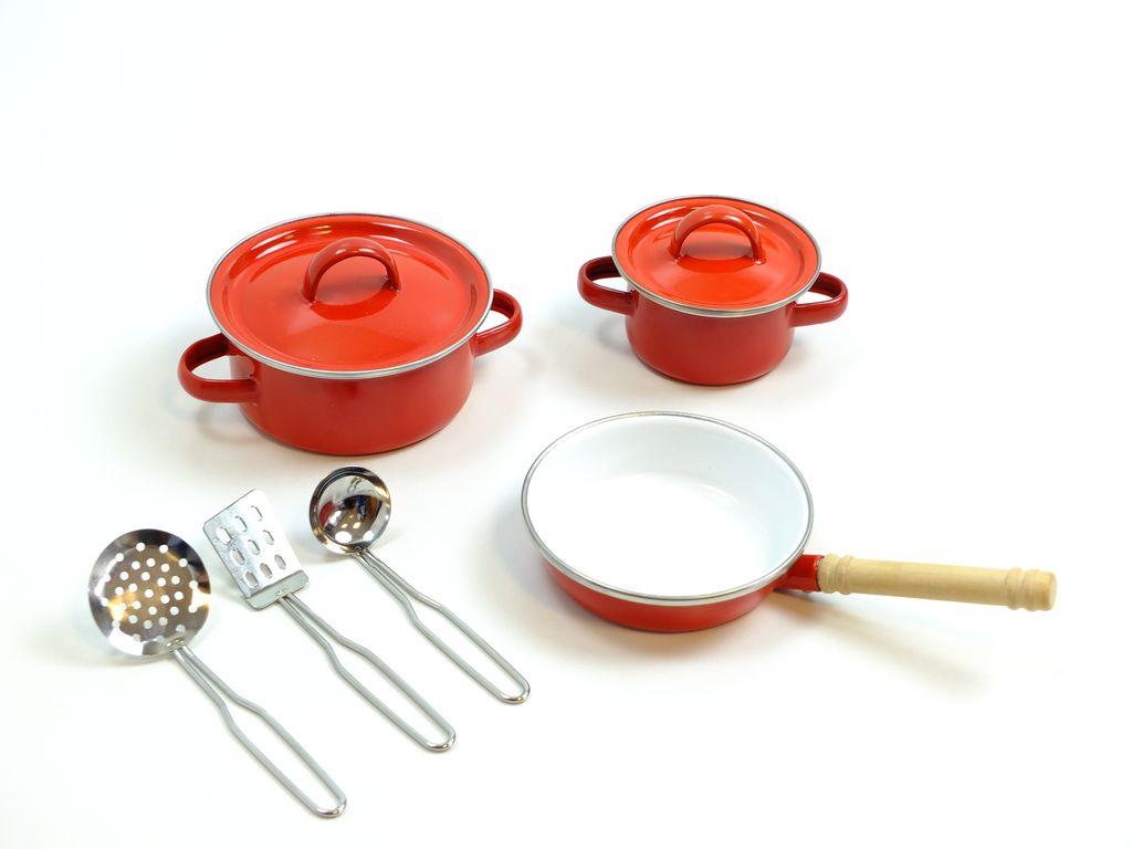 Merveilleux 8 Teiliges Koch Set Für Kinderküchen / 2 Töpfe, 1 Pfanne, 3