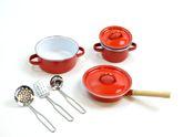 8-teiliges Koch-Set für Kinderküchen / 2 Töpfe, 1 Pfanne, 3 Kochhelfer: Schöpfkelle, Pfannenwender+Schäumer / Farbe: rot / Material: Metall + Emaille / für Kinder ab 3 Jahren