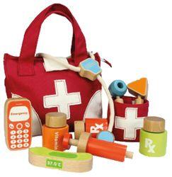 Arzttasche / Doktor Set / Stofftasche mit Holzinstrumenten / Material: Holz + Stoff / Maße: 21,5 x 8,5 x 18 cm / für Kinder ab 3 Jahren