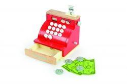 B-Ware / Geldlade schließt nicht gerade! / Cash Register / Registrierkasse mit Spielgeld + Kassenbon / Material: Holz / Gewicht: ca. 1 kg / Maße: 16,5 x 14,5 x 16,5 cm / Spielkasse